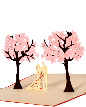 Kartka 3D. Para pod drzewami