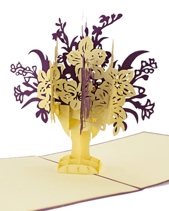 Kartka 3D. Bukiet fioletowych i białych kwiatów