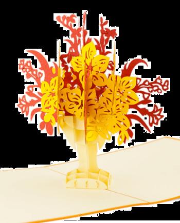 Kartka 3D. Bukiet czerwonych i żółtych kwiatów